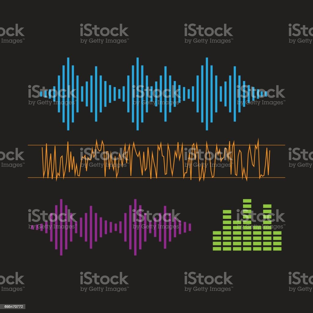 Sound Waveforms. Sound waves and musical icons vector art illustration