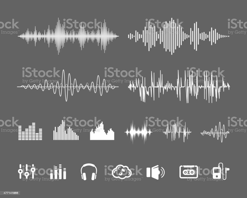 Sound waveforms vector art illustration