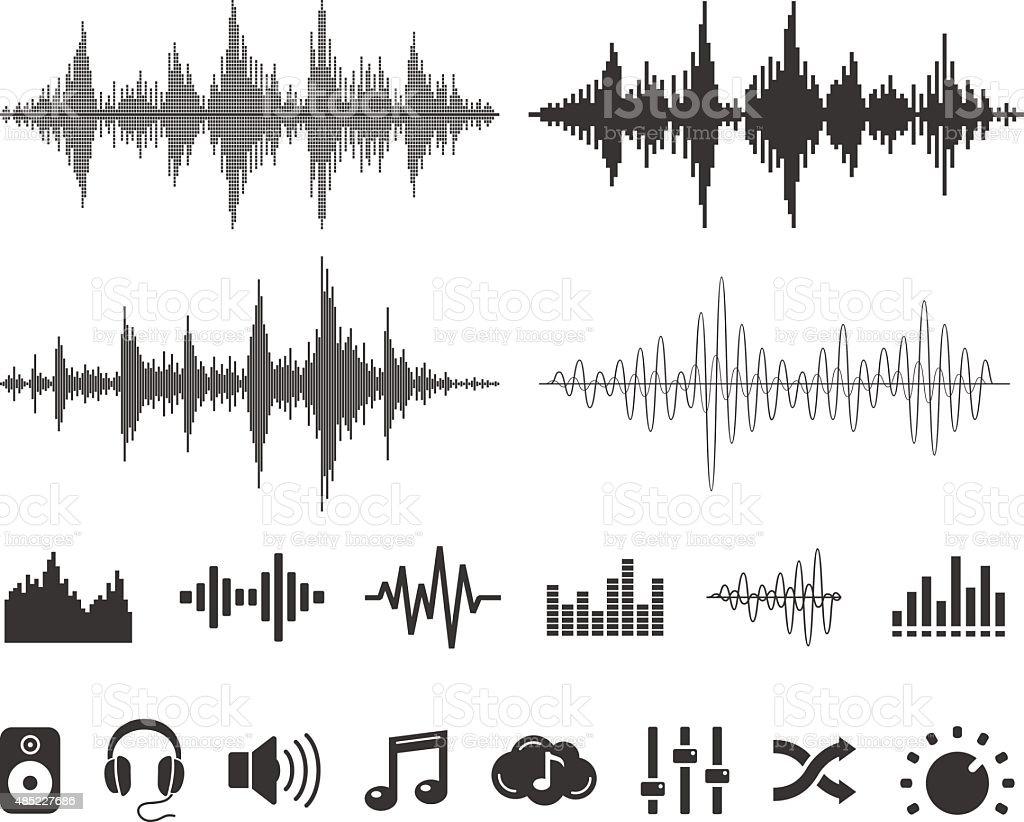 音の波とアイコン-ベクトルセット - 2015年のロイヤリティフリーベクトルアート