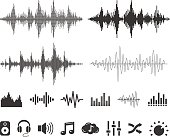 Collection of audio waveforms and icons