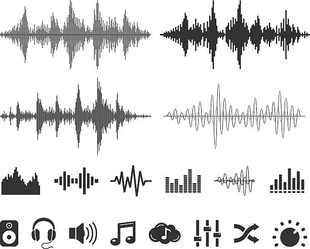 sound waves and icons - vector set - sound wave stock illustrations, clip art, cartoons, & icons