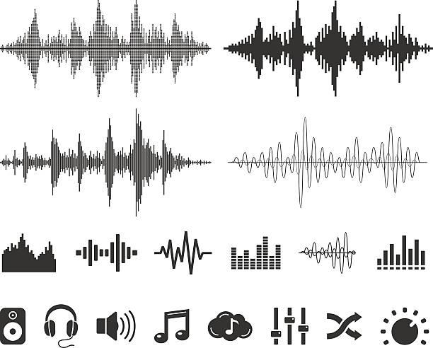 音の波とアイコン-ベクトルセット - 音響点のイラスト素材/クリップアート素材/マンガ素材/アイコン素材