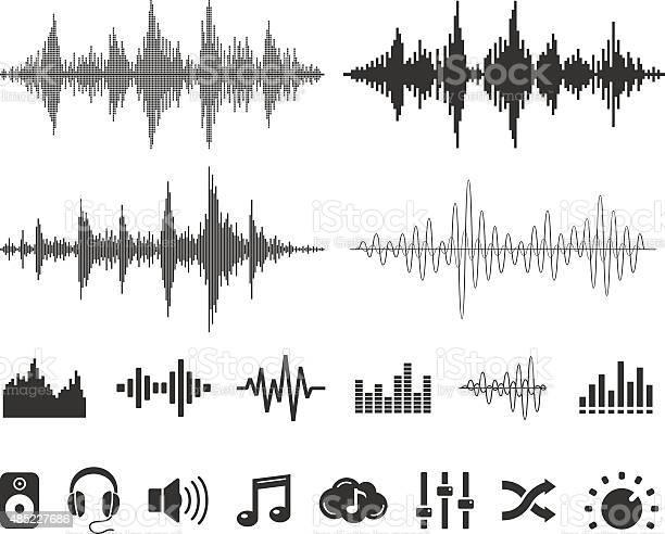 音の波とアイコンベクトルセット - 2015年のベクターアート素材や画像を多数ご用意