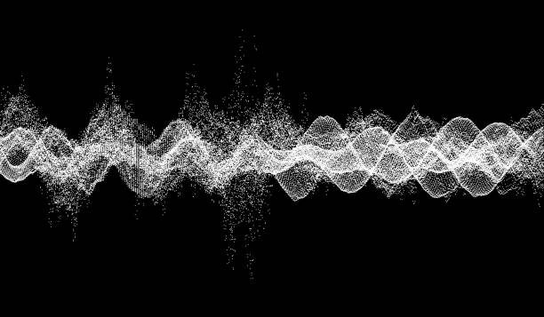 sound waves. dynamic effect. vector illustration with particle. 3d grid surface. - sine wave stock illustrations