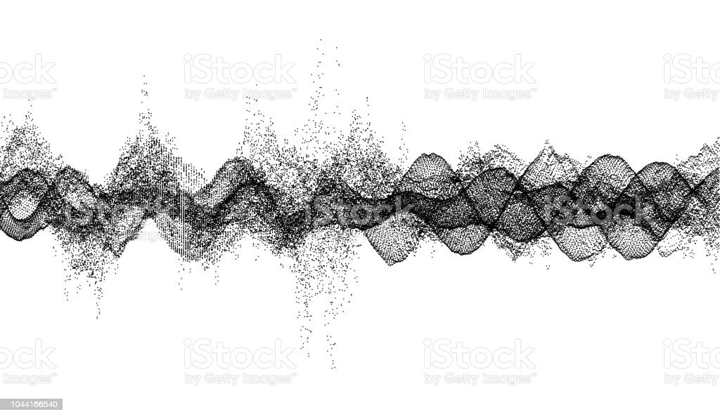 Sound Waves Dynamic Effect Vector Illustration With Particle