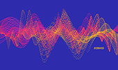 Sound waves. Dynamic effect. Vector illustration with particle. 3D grid surface.