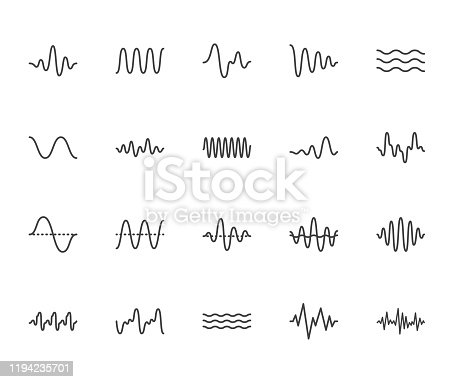 Sound waves flat line icons set. Vibration, soundwave, audio voice signal, abstract waveform frequency vector illustrations. Outline pictogram for music app. Pixel perfect 64x64. Editable Strokes.