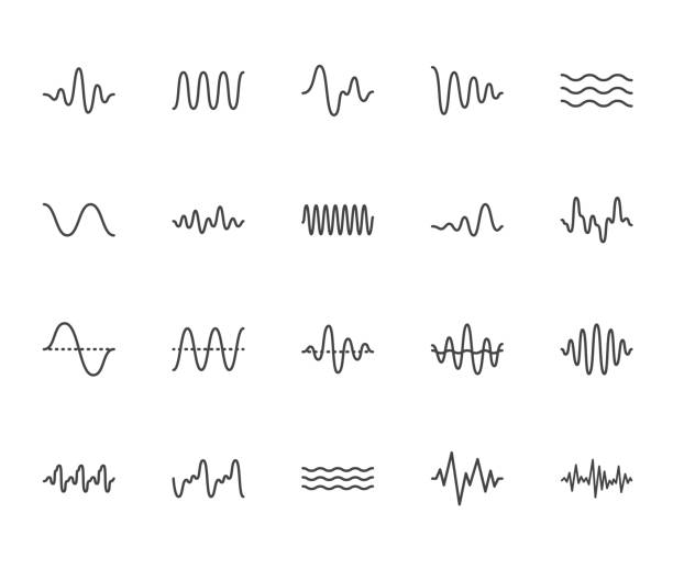 sound waves flat line icons set. vibration, soundwave, audio voice signal, abstract waveform frequency vector illustrations. outline pictogram for music app. pixel perfect 64x64. editable strokes - record analog audio stock illustrations
