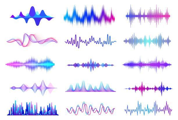 fale dźwiękowe. częstotliwość fali dźwiękowej, elementy interfejsu interfejsu music wave hud, sygnał wykresu głosowego. wektorowa fala audio - muzyka stock illustrations