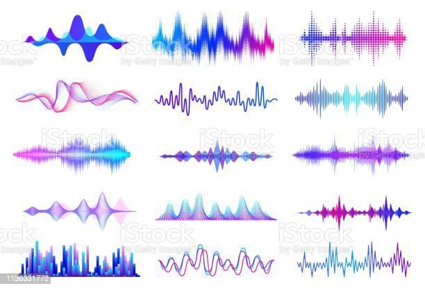 音波周波数オーディオ波形音楽波 Hud インターフェイス要素音声グラフ信号ベクトルオーディオウェーブ - GUIのベクターアート素材や画像を多数ご用意
