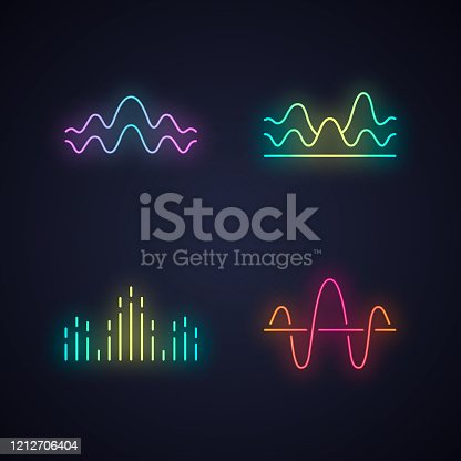 Sound waves neon light icons set. Glowing signs. Noise, vibration frequency. Volume, equalizer level wavy lines. Music waves, rhythm. Digital curve soundwaves logotype. Vector isolated illustrations