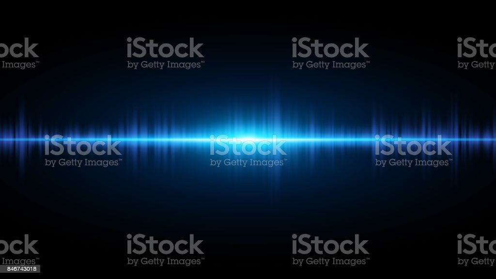 Sound waves of light blue on a dark background. Background for the radio, club, party. Vibration of light. Bright flash of light. Vector illustration vector art illustration