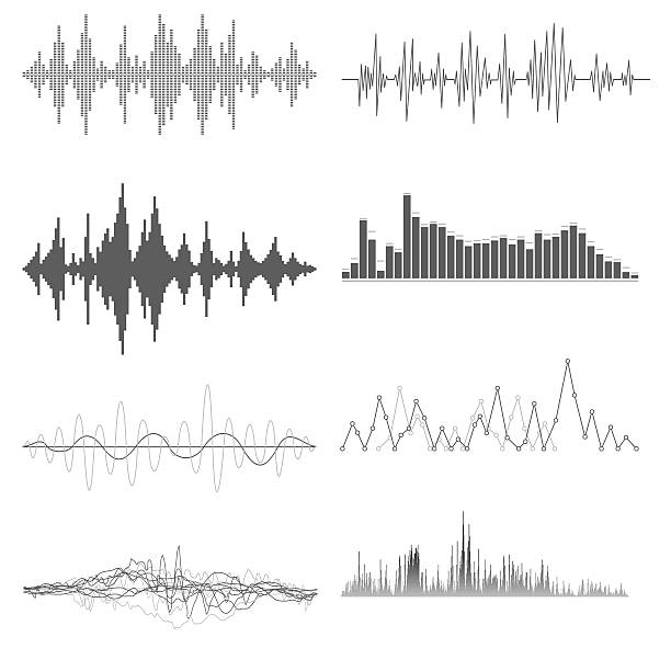 Sound waves on white background Sound waves on white background in vector verbaasd stock illustrations