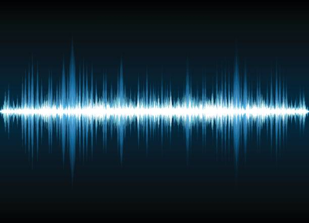 sound waves oscillating glow light, abstract technology background - sine wave stock illustrations