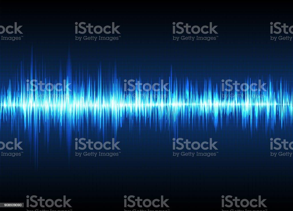 Ilustración de Las Ondas De Sonido Oscilante Resplandor Fondo ...