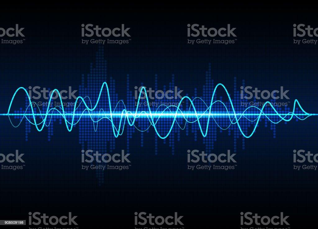 音波振動グロー光、抽象的な技術の背景 - つながりのロイヤリティフリーベクトルアート