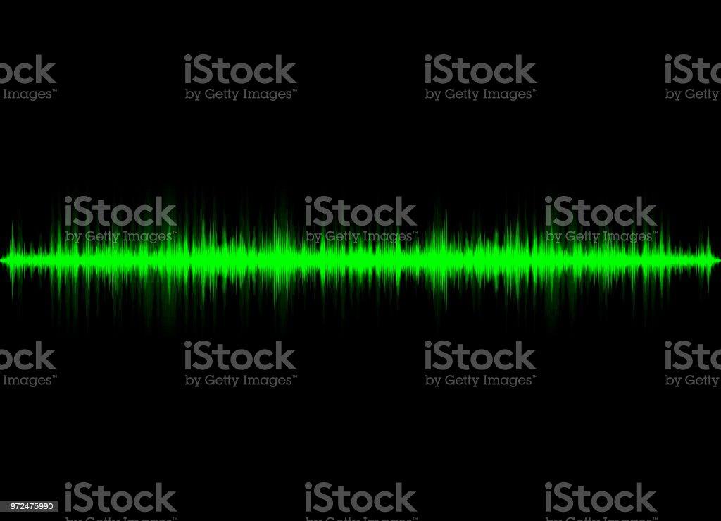 Sound waves oscillating glow light, Abstract technology background vector art illustration