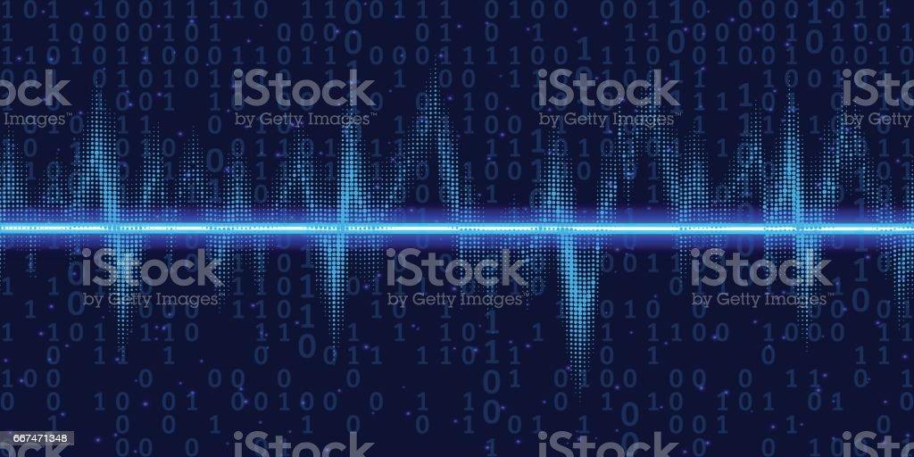 Ondas sonoras oscilantes brilham com código binário, luz de neon. Fundo abstrato tecnologia, ilustração vetorial - ilustração de arte em vetor