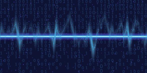Ilustración de Ondas De Sonido Oscilante Resplandor Con Código Binario Luz De Neón Fondo De Tecnología Abstracto Ilustración Vectorial y más Vectores Libres de Derechos de Abstracto