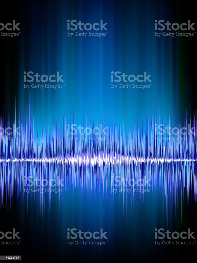 Sound waves oscillating on black. EPS 8 royalty-free stock vector art