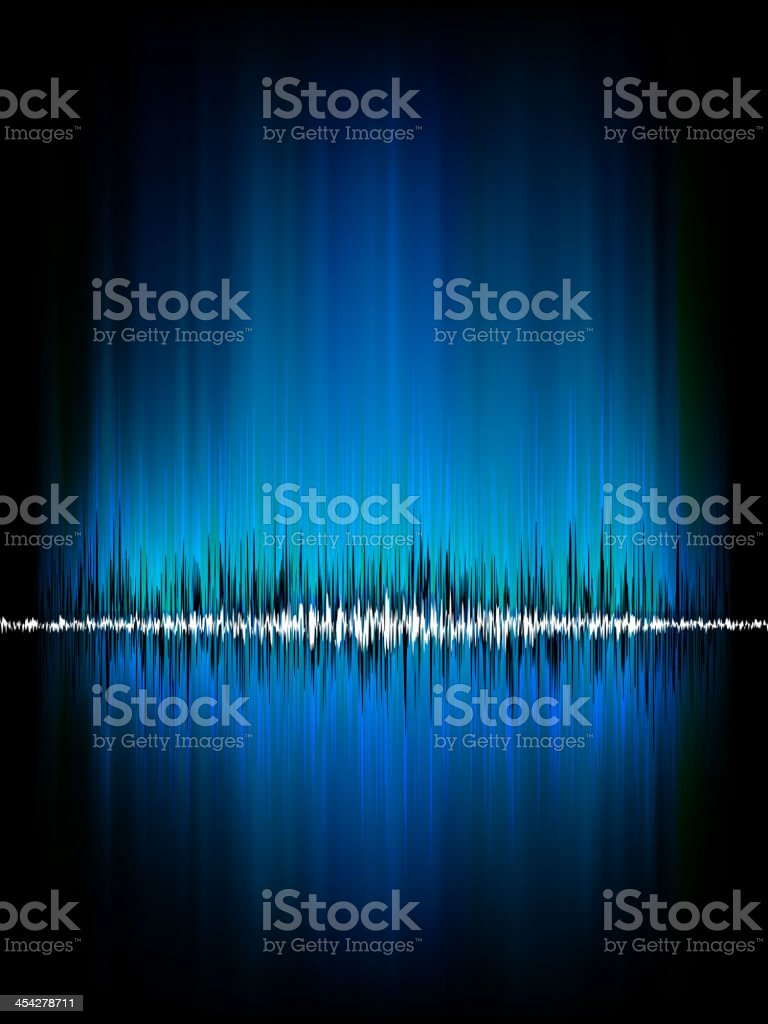 Sound waves oscillating on black. EPS 8 royalty-free stock vector art