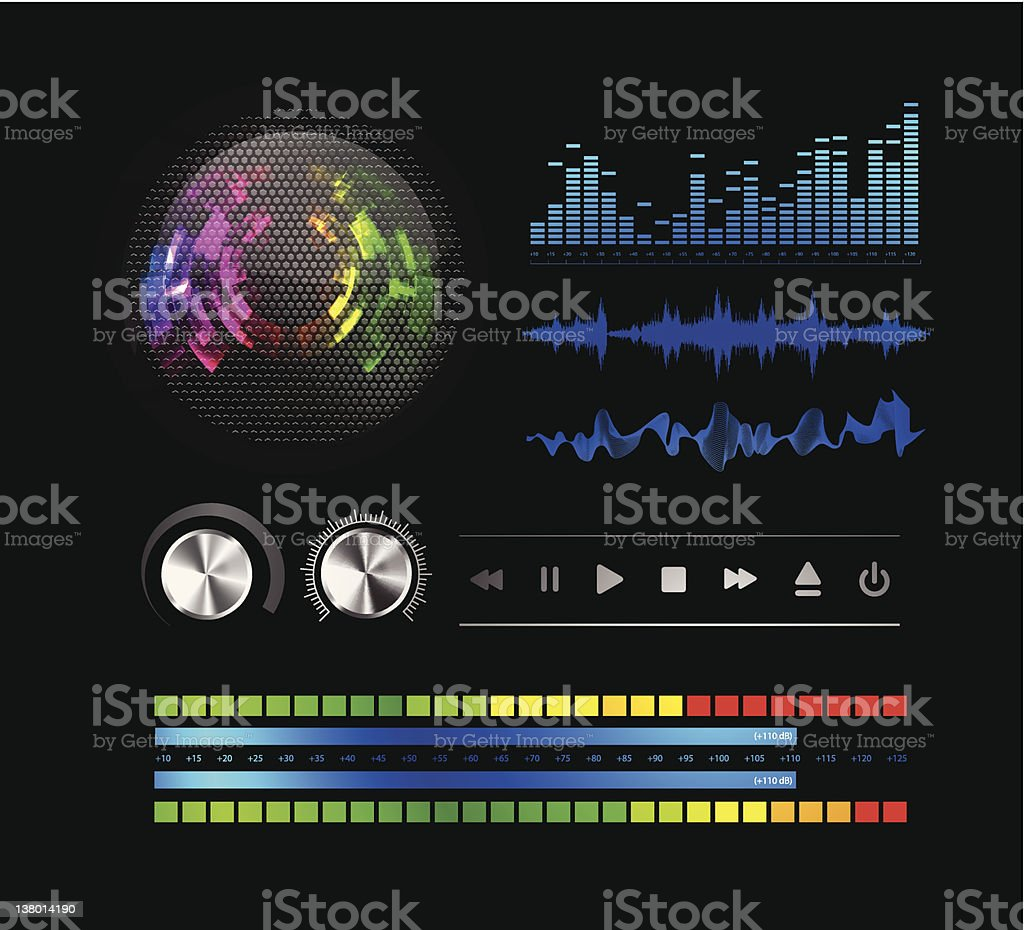 Sound waves set and speaker grill royalty-free stock vector art