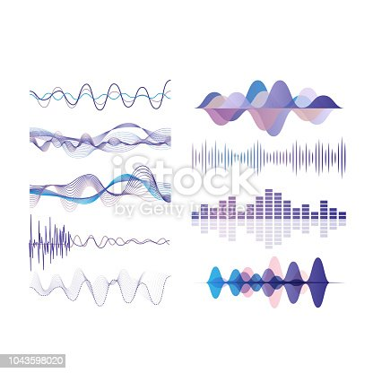 Sound waves set, audio digital equalizer technology, musical pulse vector Illustrations isolated on a white background.