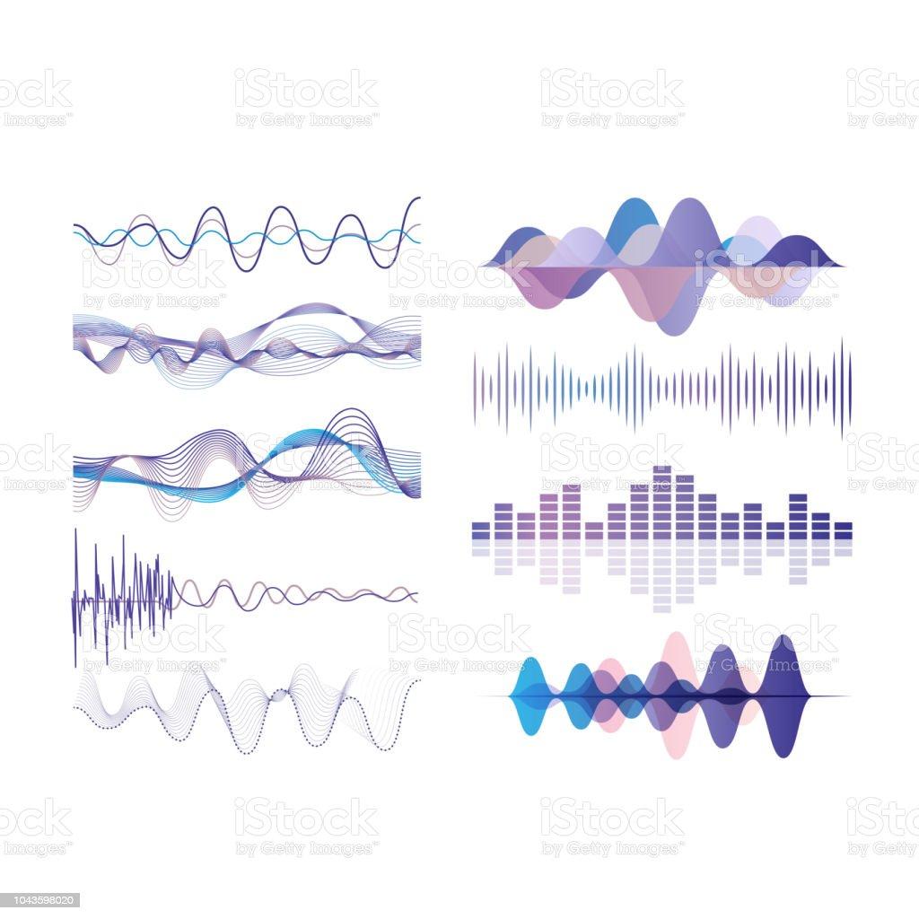 Schallwellen festgelegt, digitale audio-Equalizer-Technologie, musikalischen Puls Vektor Illustrationen auf weißem Hintergrund – Vektorgrafik