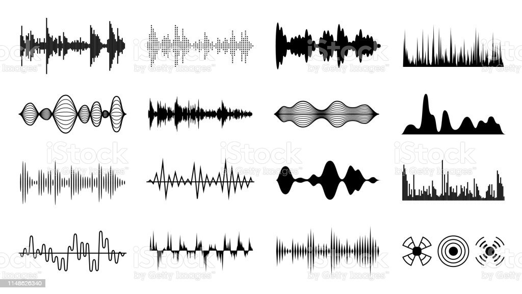 Sound waves set. Black digital radio musical wave. Audio soundtrack...