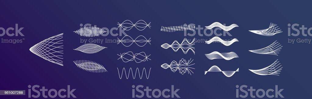 Sound waves set. Dynamic effect. Vector illustration. vector art illustration