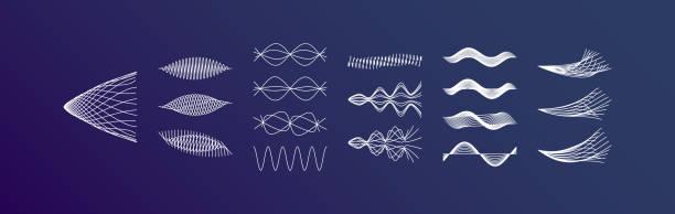 schallwellen setzen. dynamische wirkung. vektor-illustration. - sound wave stock-grafiken, -clipart, -cartoons und -symbole