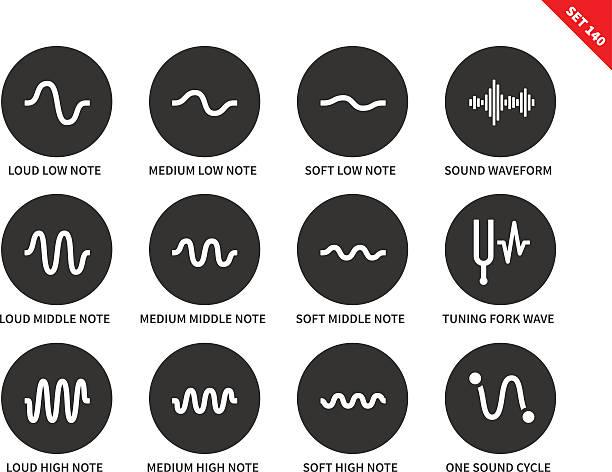 Sound waves set icons on white background. vector art illustration