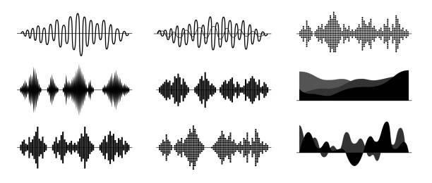 schallwellen setzen isoliert auf weißem hintergrund. digitale equalizer-technologie, audio-player, musikalischer puls. klangrhythmus. einfaches modernes design. flachstil vektordarstellung. - sound wave grafiken stock-grafiken, -clipart, -cartoons und -symbole