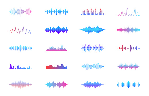 Sound waves set. Modern sound equalizer. Radio wave icons. Volume level symbols. Music frequency. Abstract digital equalizers for music app. Vector illustration.