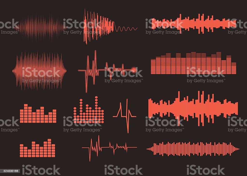 Sound waves set. Music background. EPS 10 vector file included vector art illustration