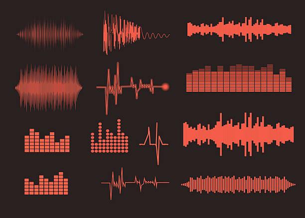 klang der wellen satz. musik hintergrund. eps 10, vektor-datei enthalten - sound wave grafiken stock-grafiken, -clipart, -cartoons und -symbole