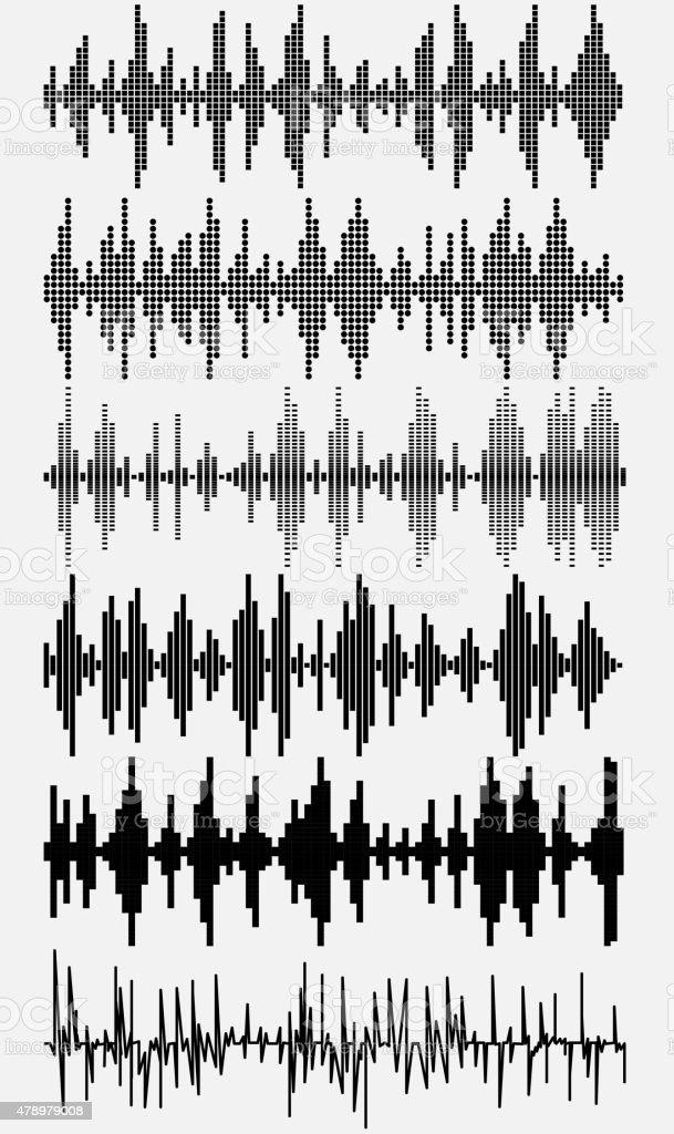 sound waves set vector art illustration