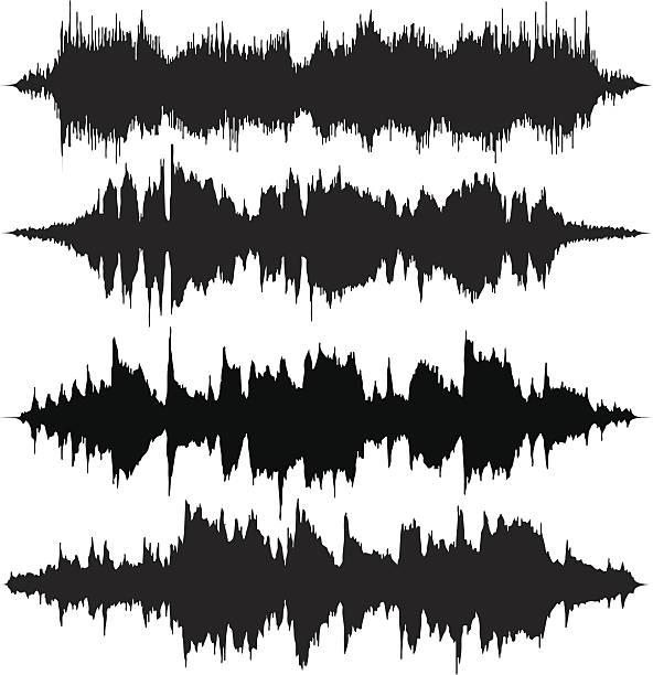 sound waves v2 - sound wave stock illustrations, clip art, cartoons, & icons