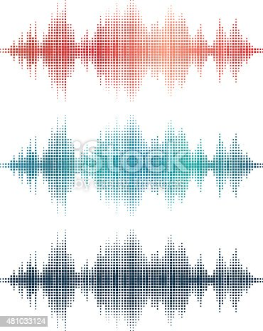 Three Detailed Vector Sound Wave Illustrations.