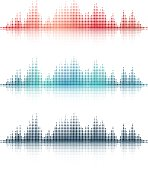 Three Detailed Vector Sound Wave Illustrations With Reflection Effect.