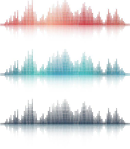 sound wellen v3 - sound wave grafiken stock-grafiken, -clipart, -cartoons und -symbole