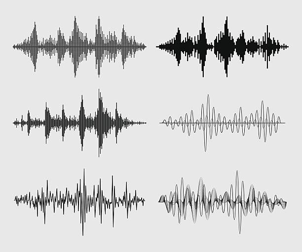 sound waves - vector set - sound wave stock illustrations, clip art, cartoons, & icons