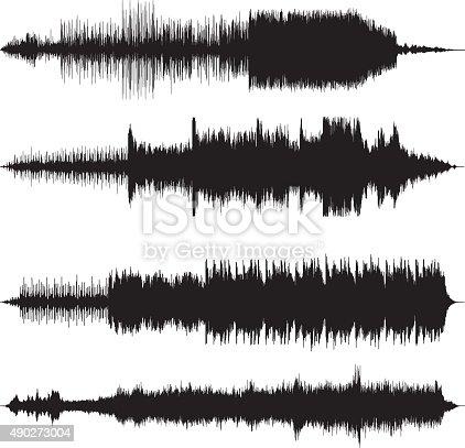 vector illustraton of sound waves waveforms sound tracks