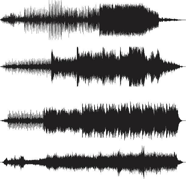 sound wellen waveforms sound tracks - sound wave grafiken stock-grafiken, -clipart, -cartoons und -symbole