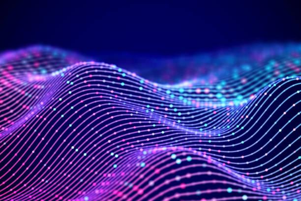 ilustrações, clipart, desenhos animados e ícones de ondas de som 3d com pontos coloridos. visualização de resumo de dados grande. - escorrer