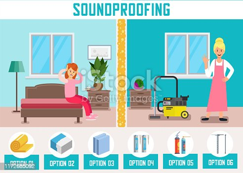 Soundproofing Walls Flat Cartoon Banner Vector Illustartion. Woman Doing Household Chores with Vacuum Cleaner, Neighbor Woman Suffering from Loud Noise. Building Materials for Room Advertisement.