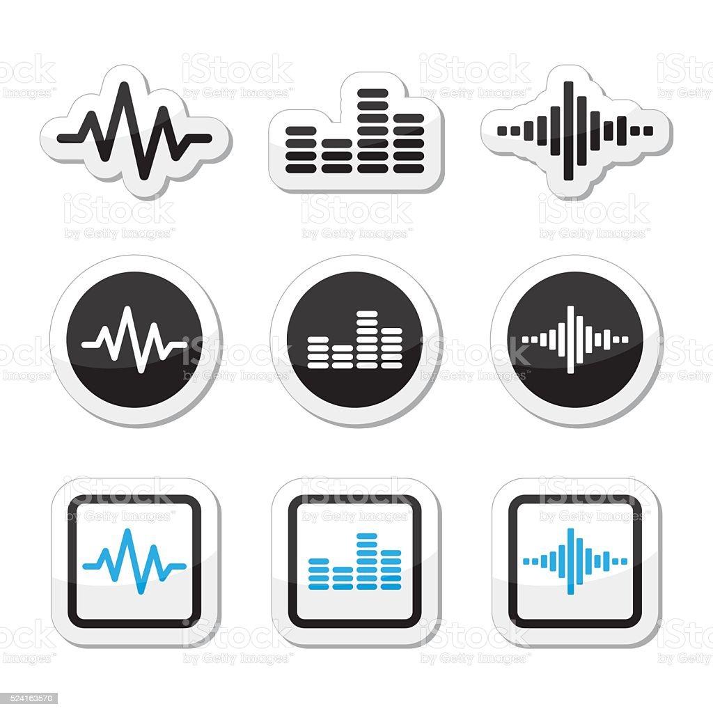 Soundwave music vector icons set vector art illustration