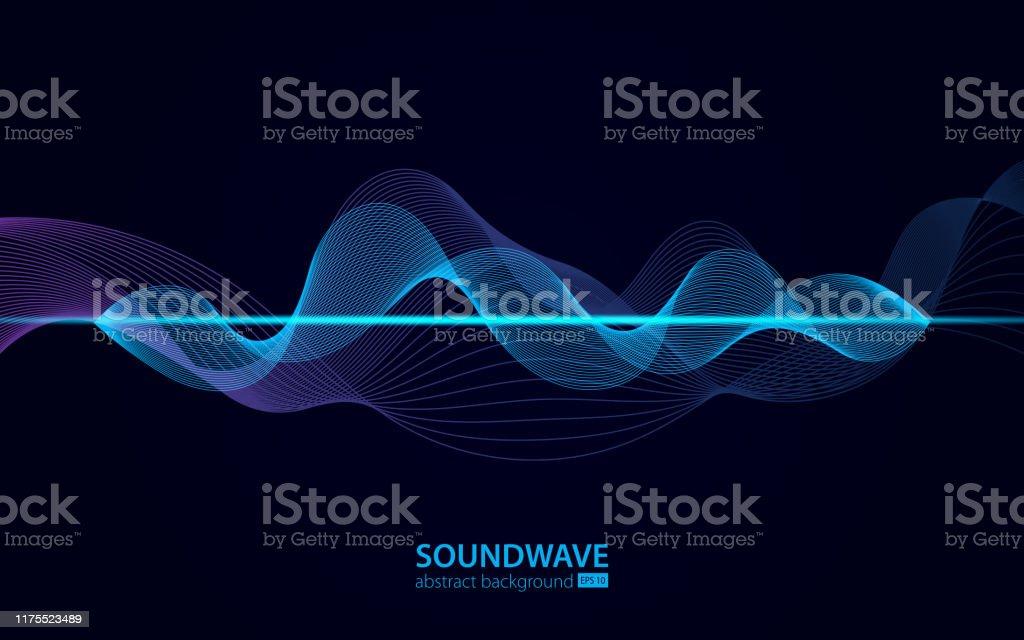 サウンドウェーブベクトル抽象背景。音楽電波。オーディオデジタル録音、振動、パルス、音楽サウンドトラックのサイン - 3Dのロイヤリティフリーベクトルアート
