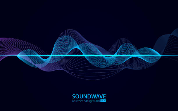 soundwave vector abstract background. music radio wave. sign of audio digital record, vibration, pulse and music soundtrack - hałas stock illustrations