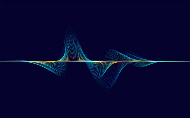 soundWave abstract digital colorful equalizer, sound wave pattern element information technology stock illustrations
